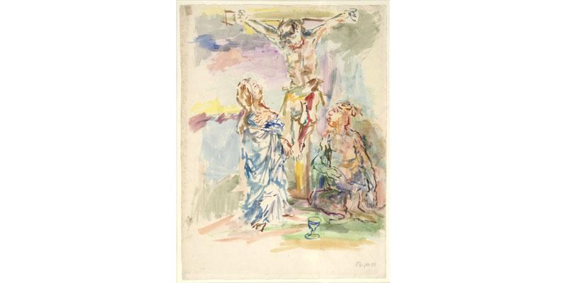 "From ""Europe on Paper""— Oskar Kokoschka, Cruci xion, 1958, watercolor on paper."