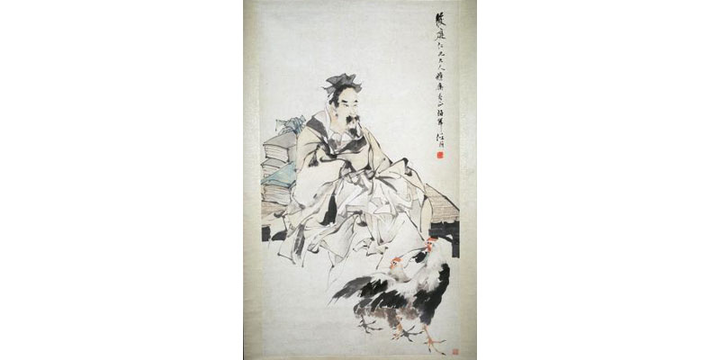 19th and 20th CE Chinese paintings by the Ren family will be on view, including Scholar with Roosters.