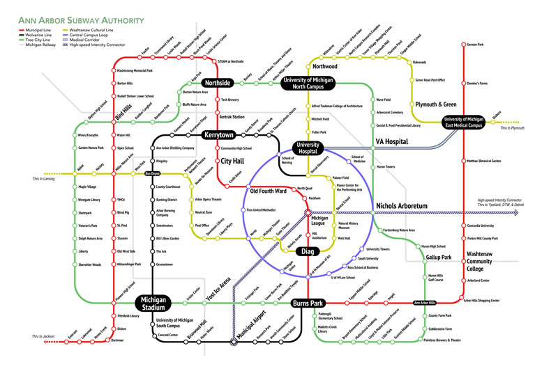 Ann Arborite John Umbaugh created a speculative Ann Arbor subway map