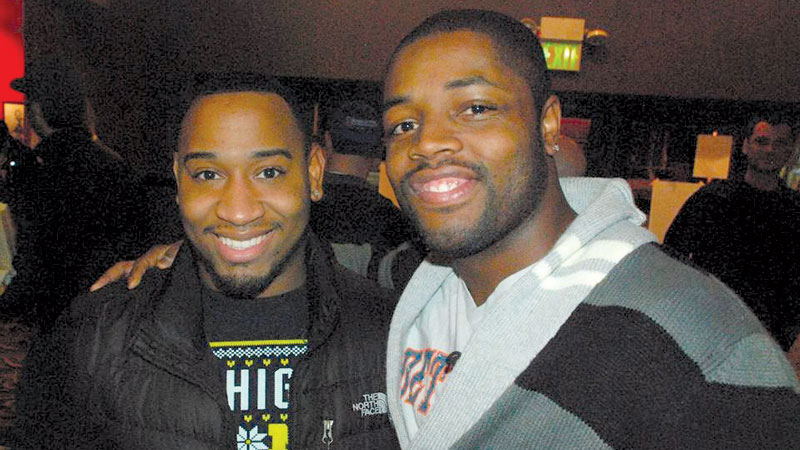 (L-R) J.B. Armstrong and David Hines Jr. met in the Michigan Marching Band.