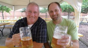 Scott Graham (left), executive director of the Michigan Brewers Guild, with Eric Briggeman (right), Guild President. Graham predicts that Michigan's microbrewing scene will see continued growth.