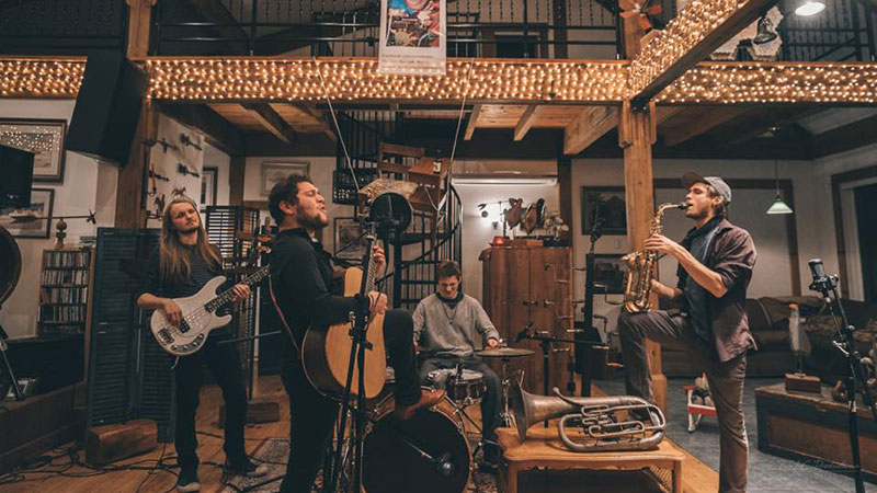 Nadim Azzam's Tiny Desk Submission was filmed with a tiny desk hanging in the background. Photo: TSLC Productions