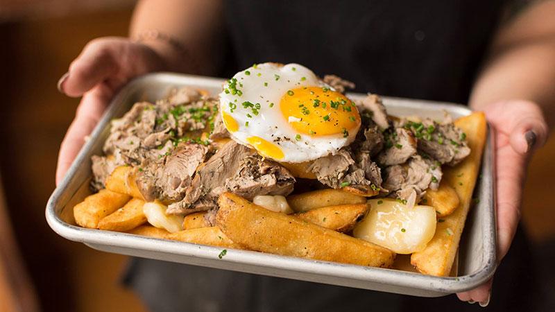 Duck confit poutine with steak fries