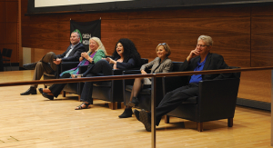 Panelists at the 2018 Green Wolverine Science Symposium at Ross School of Business spoke about the professional study of THC and CBD. (Photo by Lydia Barry)